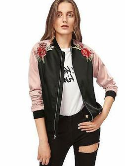 Floerns Women's Casual Short Embroidered Floral Bomber Jacke