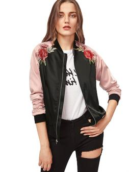905cda5a42767 Floerns Women's Casual Short Embroidered Floral Bomber Jacke