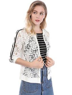 women s contrast striped zip up lace