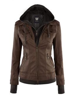 Women's Faux Leather Jacket with Hoodie SMALL COFFEE FREE SH