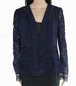 Ted Baker Women's Jacket Navy Blue Size 4 Floral Lace Open F