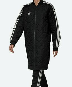 Women's adidas Originals Long Quilted Bomber Jacket black pa