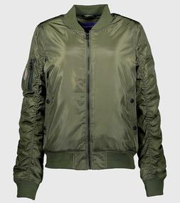 MADDEN GIRL Women's Plus Size 3X OLIVE GREEN BOMBER JACKET n