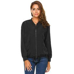 Women's Zip Up Solid Drawstring Hem Casual Bomber Jacket wit