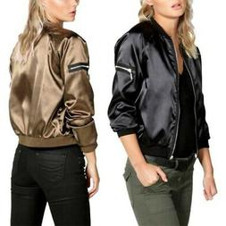 Women Satin Bomber Jacket Tops Lady Zipper Long Sleeve Stand