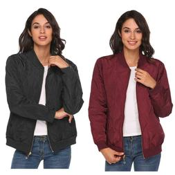 Women Thin Long Sleeve Zip Up Casual Quilted Bomber Jacket C