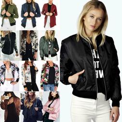 women zip up bomber jacket biker flight
