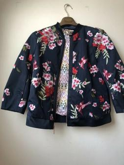 Ted Baker Womens Blue Floral Jacket Ted Size 4