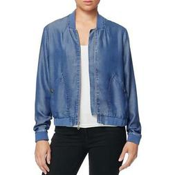 Alison Andrews Womens Chambray Long Sleeves Bomber Jacket Ou