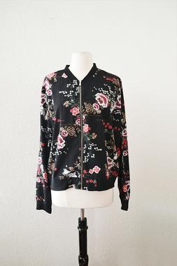 Womens Floral Bomber Jacket Black Chinoiserie Pattern Print