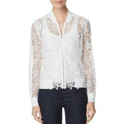 Elie Tahari Womens Glenna Fall Lace Bomber Jacket Outerwear