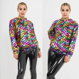 Womens Ladies Multi Colour Metallic Fish Scale Zip Up Biker