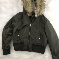 Rue 21 Womens Size Large Olive Green Bomber Jacket Faux Fur