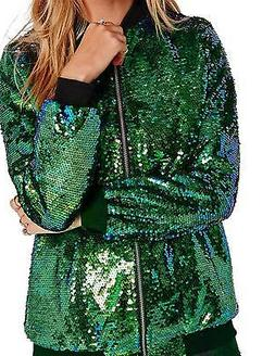 HaoDuoYi Womens Sparkle Mermaid Sequin Long Sleeve Zipper Fr