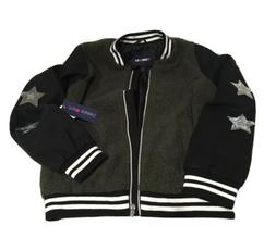 Limited Too Wool and Sherpa Bomber Jacket with Star Sequins