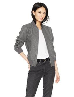 Levi's Women's Wool Blend Rib Knit Bomber Jacket, Light Grey